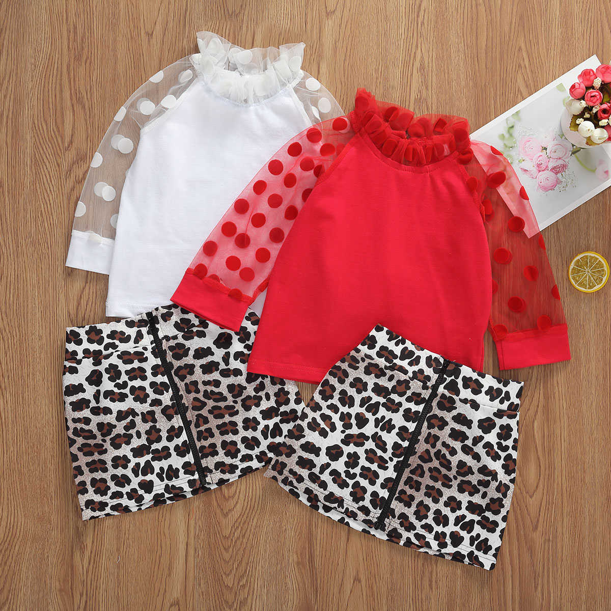 1-6Y Fashion Baby Girls Clothes Sets Polka Dot Long Sleeve Lace T Shirts Tops+Leopard Print A-Line Skirts