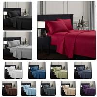 Plain satin striped Bedding Sheet Set Bed Linens Flat Sheet+Fitted Sheet+Pillowcase Twin/Full/Queen/ King Size Soft comfortable