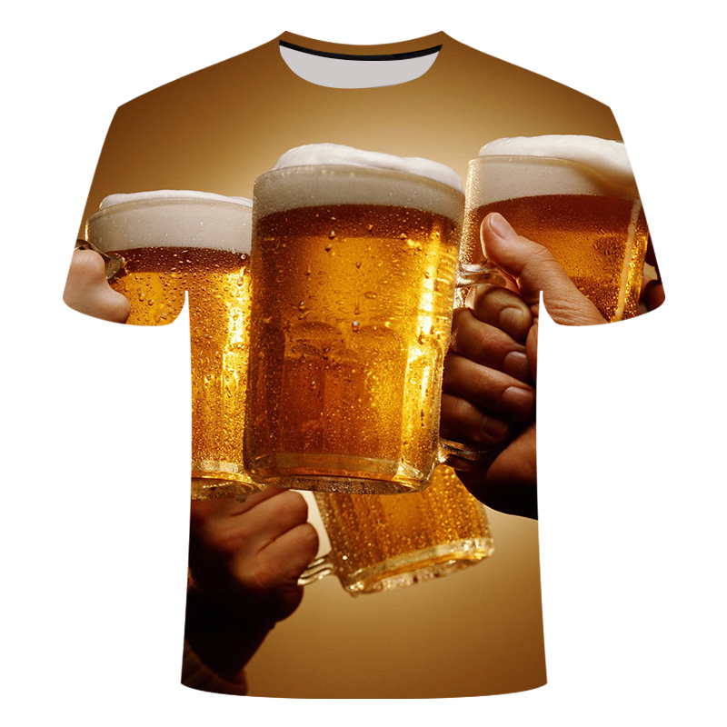 Summer beer 3D digital print T-shirt novelty short sleeve t-shirt men's and women's top high quality casual T-shirt Series image