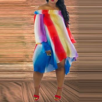 Casual Color Block Off Shoulder Long Sleeve Plus Size Dress Asymmetrical Oversize Summer Mini Dresses Short  Striped Loose Robe long sleeve geometric plus size mini dress