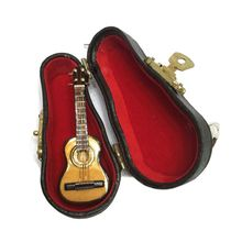 1:12 Scale Dollhouse Mini Guitar Miniature Model with Stand Musical Instrument Box Case Decor Doll House Accessories Toy  E65D