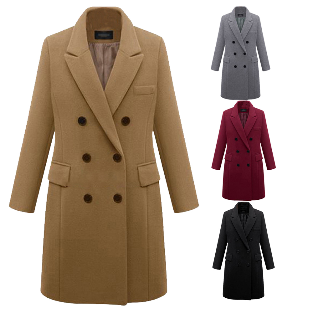 Solid Womens Knee Length Slim Fit Casual Coat Jacket Parka Outwear Lapel Button