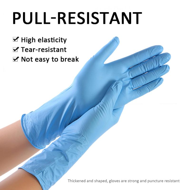 100PCS Waterproof Disposable Gloves 100 PCS Nitrile Latex Rubber Gloves Latex Home Food Laboratory Cleaning Rubber Gloves