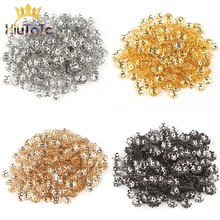 500pcs/Lot 6mm Hollow Flower Findings Cone End Beads Cap Filigree For DIY Needlework Jewelry Findings Making Accessories