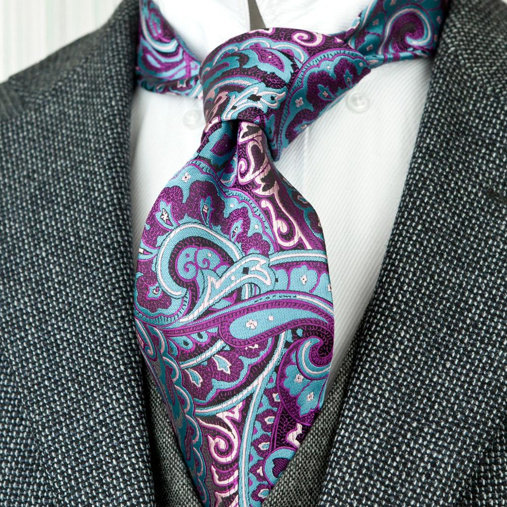Paisley Floral Fuchsia Red Blue Azure Yellow Multicolor Mens Ties Neckties 100% Silk Jacquard Woven Wholesale