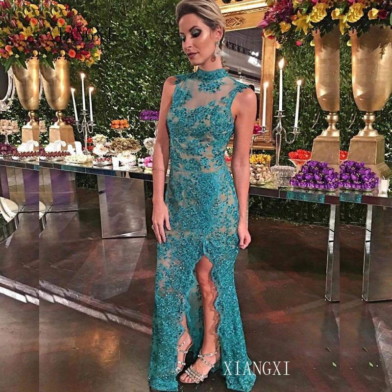 Green Evening Dress 2019 Lace Appliques Illusion Formal Party Gowns Long Evening Dresses Vestido De Festa Longo