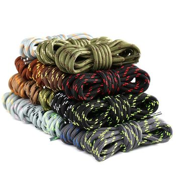 1 Pair Martin Shoes Round Shoe laces Striped Double Color Fashion Shoelaces Outdoor Hiking And Leisure Sports Shoe lace image