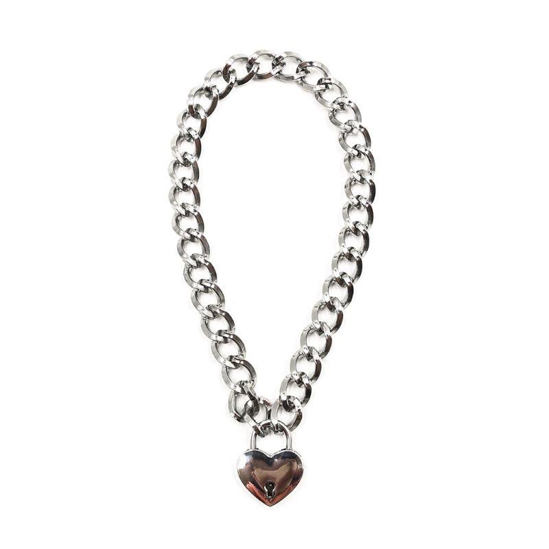 Women Fashion Harajuku Handmade Gold-Color Link Chain Necklace Punk Choker Beauty Lock Collar Belt Torques Club Party