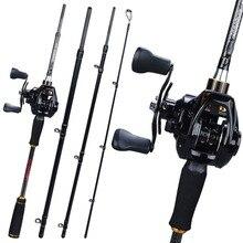 цена на Sougayilang 1.8M 2.1M 2.4M Casting Fishing Rod Reel Combo 4 Sections Carbon Fiber Fishing Rod Baitcasting Fishing Wheel Pesca