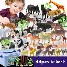 44pcs Zoo Animal Model Forest Farm Animal Toys Genuine Wild Jungle Tiger Panda Sheep Learning Cognitive Toys for Children(China)