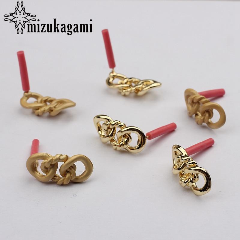 Zinc Alloy Golden Hollow Chain Earrings Base Earrings Connector 19*9mm  6pcs/lot For DIY Fashion Drop Earrings Accessories