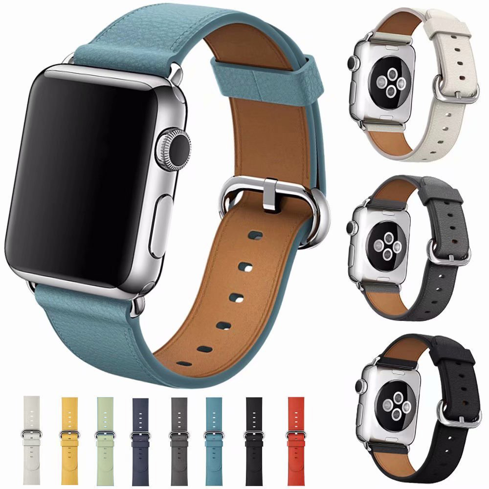 Samrt Watch Band for Apple Watch Band Series 6 SE 5 4 3 2 1 Leather Strap 44mm 38mm 42mm 40mm