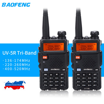 2019 BaoFeng UV-5R Tri-Band BF-R3 UV-5RX3 Walkie Talkie 136-174Mhz 220-260Mhz 400-520Mhz Amateur Ham handheld Portable (2pcs)