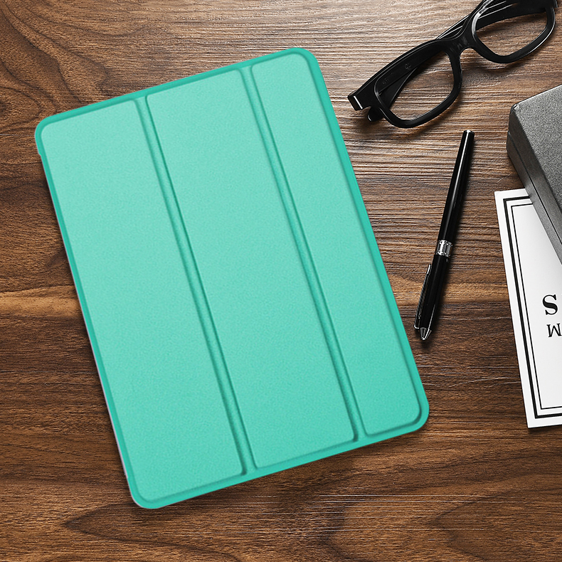 Mint Green Blue Case For iPad 10 2 inch 2020 Flip Trifold Stand Case PU Leather Full Smart Auto
