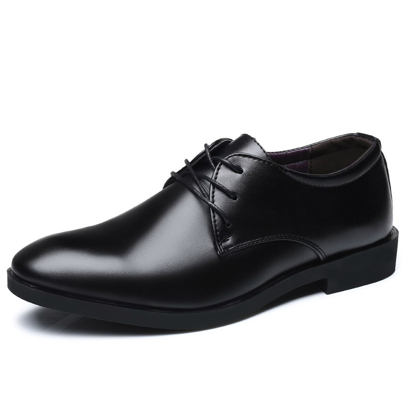 Men's Brand Leather Formal Shoes Lace Up Dress Shoes Oxfords Fashion Retro Shoes Elegant Work Footwear Drop Shipping