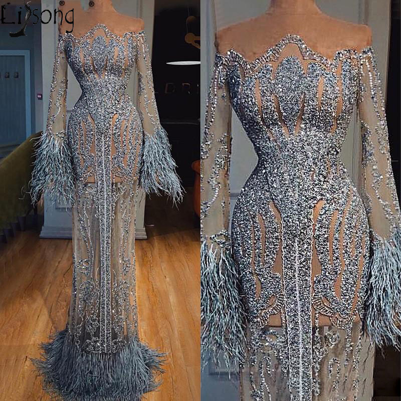 Uxurious Beading Evening Dress 2020 Long Sleeve Transparant Feathers Off Shoulder Prom Dresses With Lining Formal Party Gowns