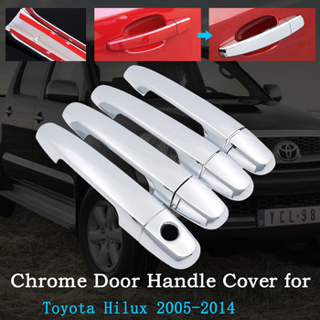 Car Door Handle Cover Chrome for Toyota Hilux AN10 AN20 AN30 SR5 2005~2014 2007 2008 2010 2013 Exterior Car-Accessories- Goods image