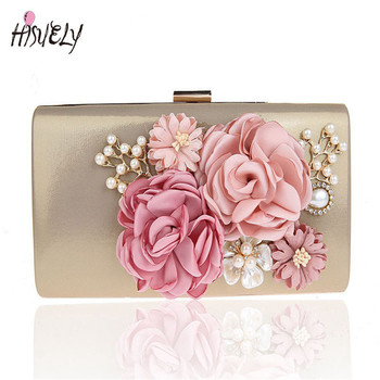 2020 women bag hot hand evening bags with the chain the Appliques pattern flowers wedding dinner bags imitation pearl WY100