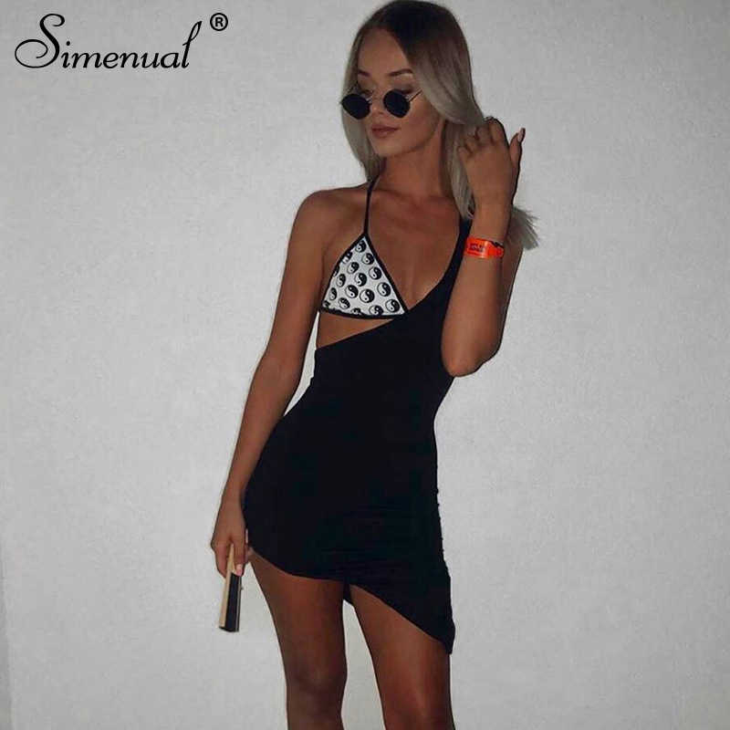 Simenual um ombro sexy quente vestido de festa feminina sem mangas moda clubwear 2020 verão sólido preto mini vestidos magro feminino