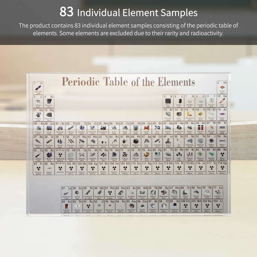 ZXLA Acrylic Periodic Table Display with Real elements Teaching School Day Birthday Gifts Chemical elements Display Decor