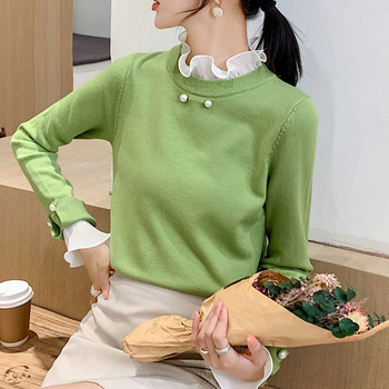 Knitted Blouses Autumn 2019 New Long sleeve slim Chiffon Ruffled Neck Splice Blouses Shirts Knitted Sweaters Chiffon Top 999E flower embroidered long sleeve ruffled top