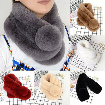 Women Fashion Plush Rex Rabbit Hair Scarf Shawl Thickened Fur Collar Scarf Warm Neck Long Warmer Wrap Collar Shawl Stole