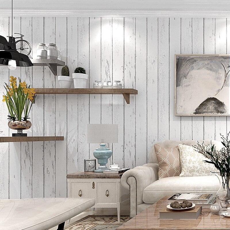 White Stripes Retro Mediterranean Style Nostalgic Wood Grain Non-woven Wallpaper Bedroom Living Room Wall Wallpaper