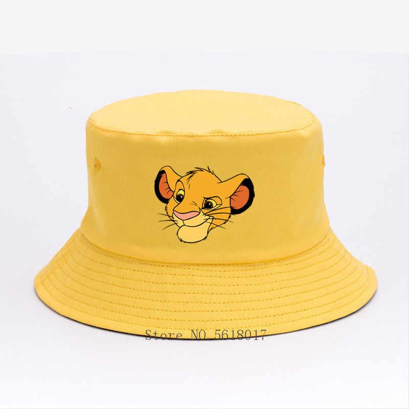 남자와 여자 Hakuna Matata 사자 왕 아기 Simba 파나마 양동이 모자 여름 스포츠 모자 태양 바이저 낚시 캐주얼 단색 모자