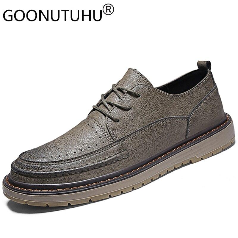 Buy 2019 style fashion men's shoes casual genuine leather male classics khaki brown black lace up shoe man retro flats shoes for men