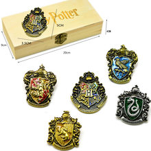 Birthday Gift 5-piece Set Harried Potters Magical School Badge Gryffindor Hogwart Symbol Metal Brooch Pins Cosplay Gift With box(China)