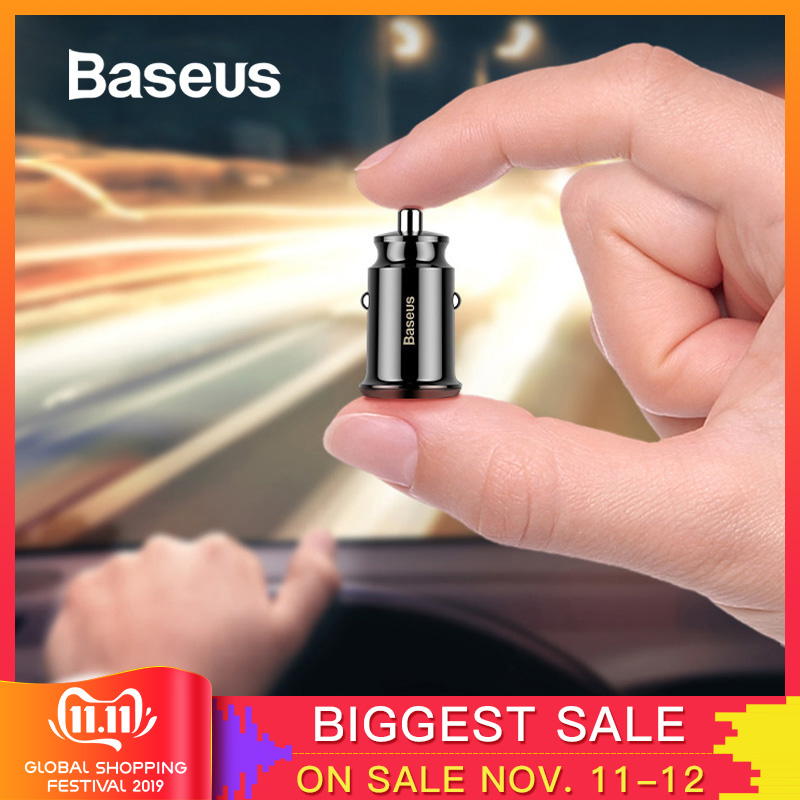 Image 1 - Baseus Mini USB Car Charger For Mobile Phone Tablet GPS 3.1A Fast Charger Car Charger Dual USB Car Phone Charger Adapter in Car-in Car Chargers from Cellphones & Telecommunications
