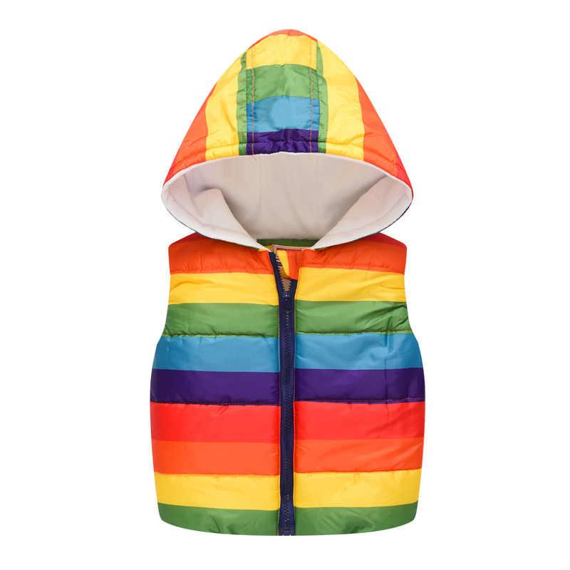 キッズガールズボーイズ冬ベスト秋のノースリーブフード付きベスト漫画虹ジャケット子供暖かいトップスコートヒョウ生き抜く