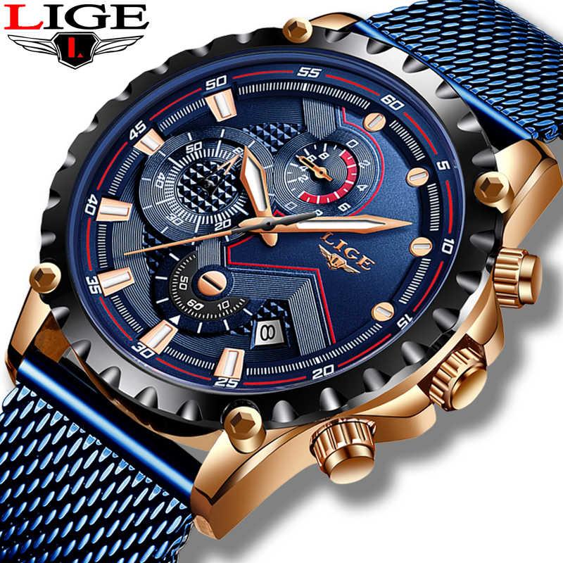 2019 ליגע אופנה כחול Mens שעונים למעלה מותג Luxruy זכר ספורט עמיד למים לגברים עסקי קוורץ שעון Relogio Masculino