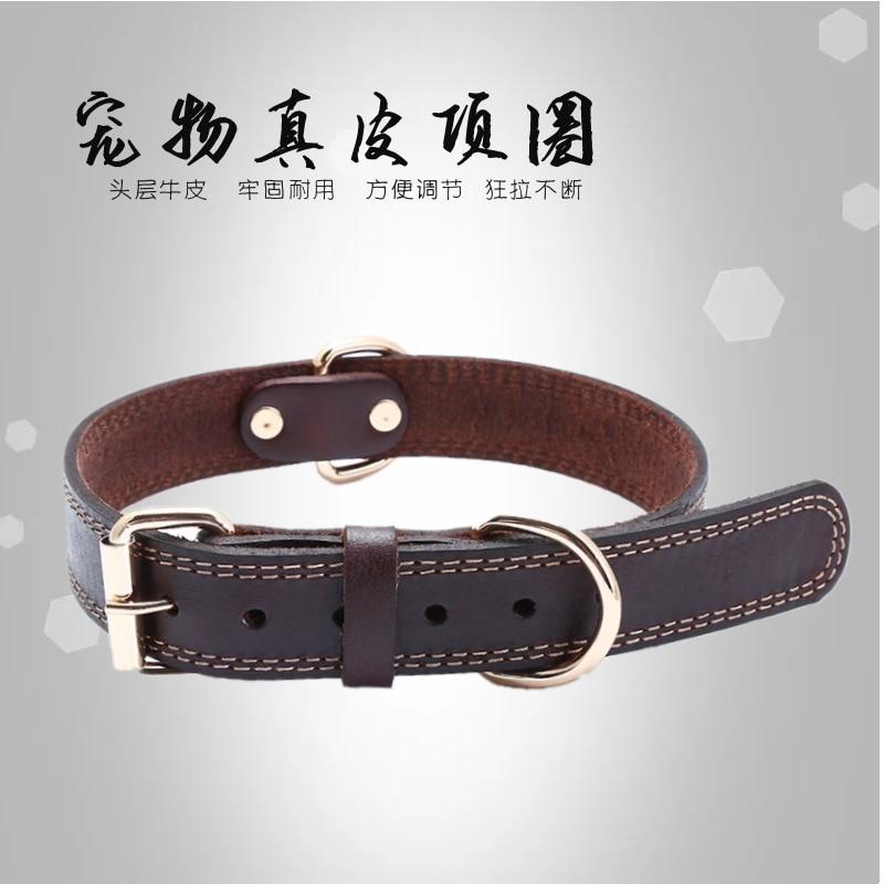 Pet Genuine Leather Neck Ring Full-grain Leather Dog Neck Ring Classic Bandana Collar Medium Large Dog Hand Holding Rope Neck Ba