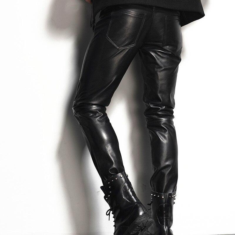 Italy Mens Genuine Leather Skinny Pants Plus Size Motorcycle Biker Slim Fit Male Toursers Rock 100% Real Cowhide Pencil Pants