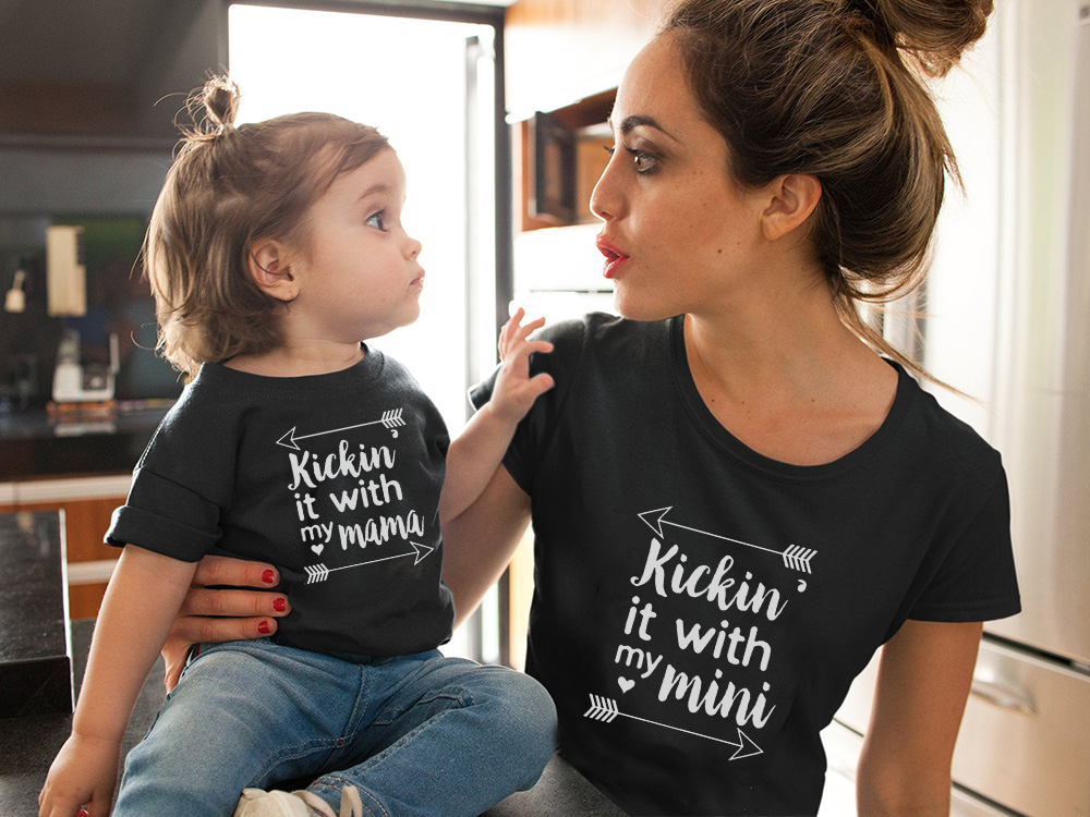 Kickin' It With My Mini And Mama Mommy And Me Outfit Mother And Daughter Son Matching Tshirt Summer Short Sleeve Black Tee