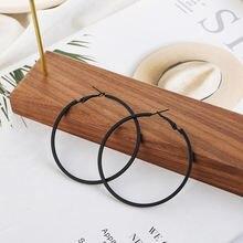 Женские серьги кольца из нержавеющей стали черные большие геометрической
