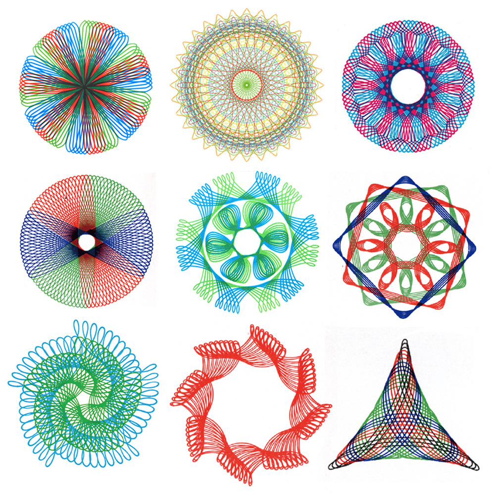 Children Intelligence Flexible Spirograph Multi-functional Mapping Template Ruler Painted Educational Toy Spirograph Package