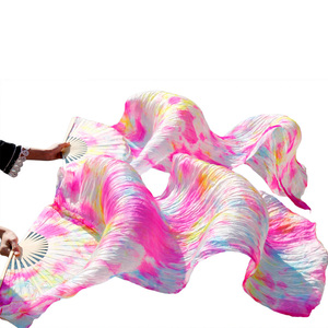 Image 5 - Abanico para danza del vientre 100% de seda auténtica/imitación de seda, velo de seda Natural pura de alta calidad, 1 par de abanicos del baile hechos a mano