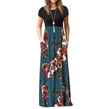 woman casual long dress maxi floral print patchwork draped loose plus size big swing beach dress elegant party streetwear #G3(China)