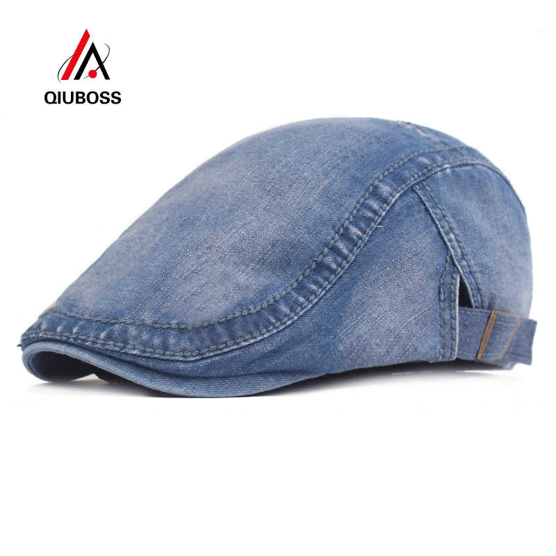 Outdoor Mens Denim Flat Newsboy Ivy Cap Hat with Buckle Strap Fashion Street Washed Distress Peaked Cap Adjustable Wholesale