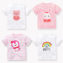 Girls 2020 new short sleeve T-shirt boys' round neck print top baby's pure cotton girls' half sleeve summer fashion