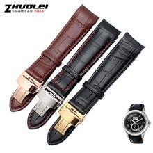 Final curvo watchband straps para BL9002-37 05A BT0001-12E 01A marca dos homens relógio de couro genuíno com fivela de borboleta 20 21 22mm