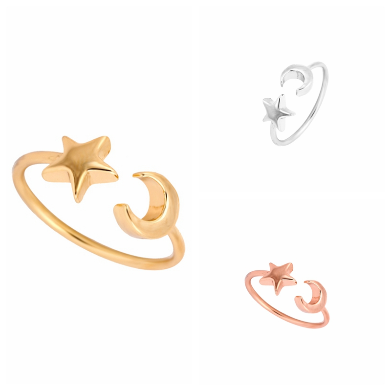 New Fashon Gold Silver and Rose Gold Plated Adjustable Crescent Moon and Tiny Star Rings for Women