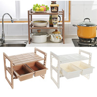 2 Tiers Under Sink Shelf Retractable Kitchen Storage Rack Holder Organizer Drawer Stand Home Kitchen Storage Tools Foldable