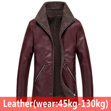 Sheepskin Fur Leather Jacket Mens Plus Size 6XL Suede Leathe
