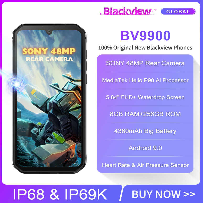 Blackview BV9900 Helio P90 Octa Core 8GB 256GB 5.84 ''FHD + IP68 Wasserdichte Robuste Smartphone 4380mAh android 9,0 Handy