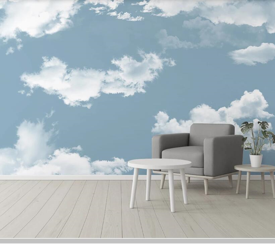 Papel de parede médiéval nostalgique rétro bleu ciel blanc nuage 3d papier peint mural, salon chambre papiers peints décor à la maison