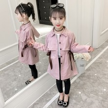 New Girls Trench Jacket Autumn Winter Childrens Clothing Baby Girl Windbreaker Fashion Solid Color Tops for 4-16 Years Old Kids