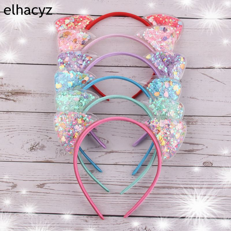 6pcs/lot New 2.5'' Love Stars Shells Transparent Quicksand Mickey Cat Ears Hairband For Kids Party Hair Accessories